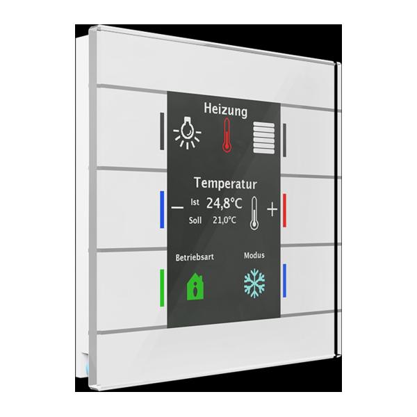 KNX üveg érintőkapcsoló hőmérsékletérzékelővel, fehér